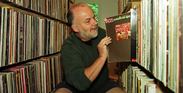 John Peel, pictured at his Suffolk home with part of his vinyl collection. Picture: CLIFFORD HICKS